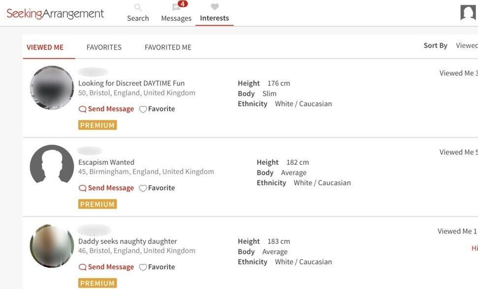 Sugar daddies seeking sugar babies on Seeking Arrangement's website.